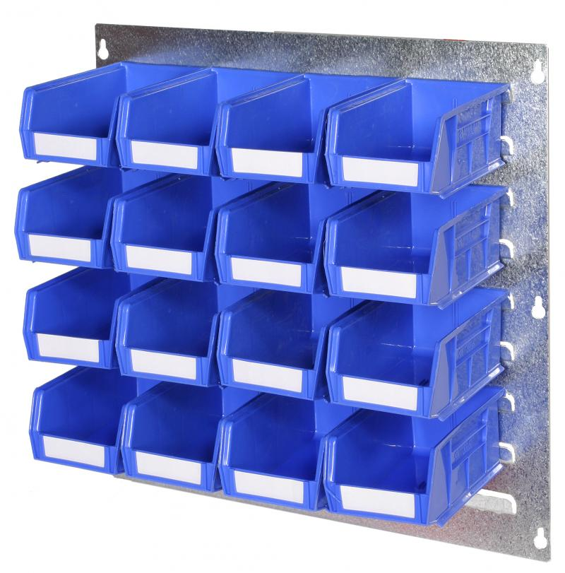 Officestor louvred panel with parts bins